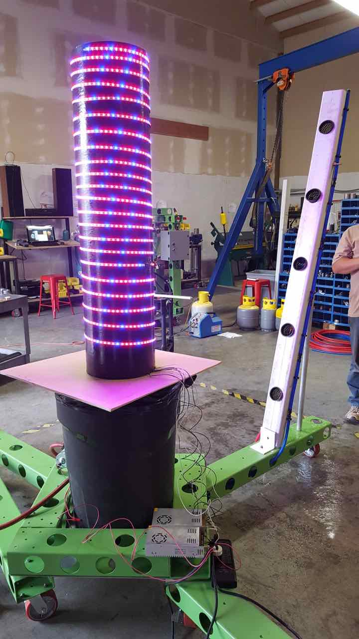 indoor scalable LED and fogponics tower growing system by infinity supercritical