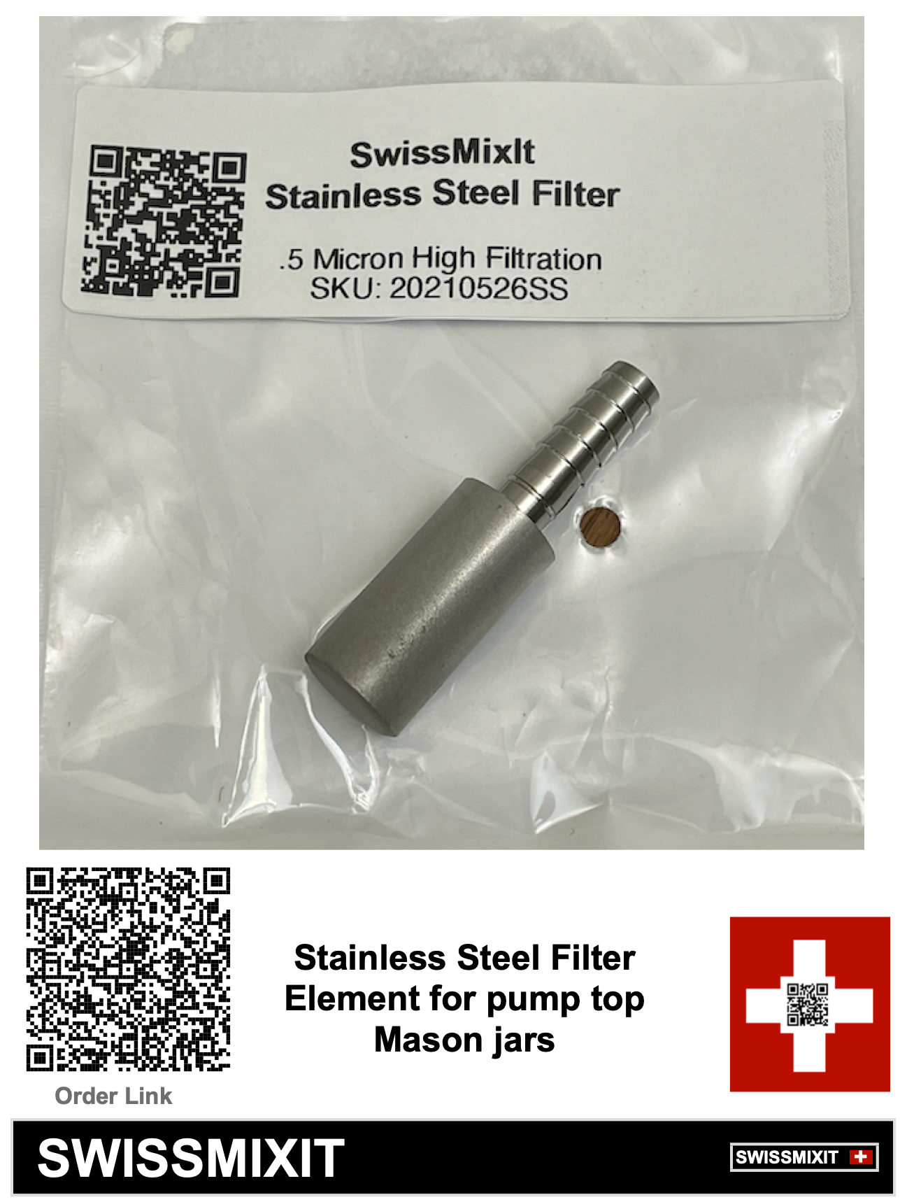 Stainless Steel .5 Micron high filtration element with 1/4 inch attach point. Used for pump tops on Mason jars or other container pumps that allow a 1/4 inch tube connection. This is for making oil infusions. Allows you to mix and extract in same Mason jar and then pump out oil and extract while filter leaves and particulates behind.